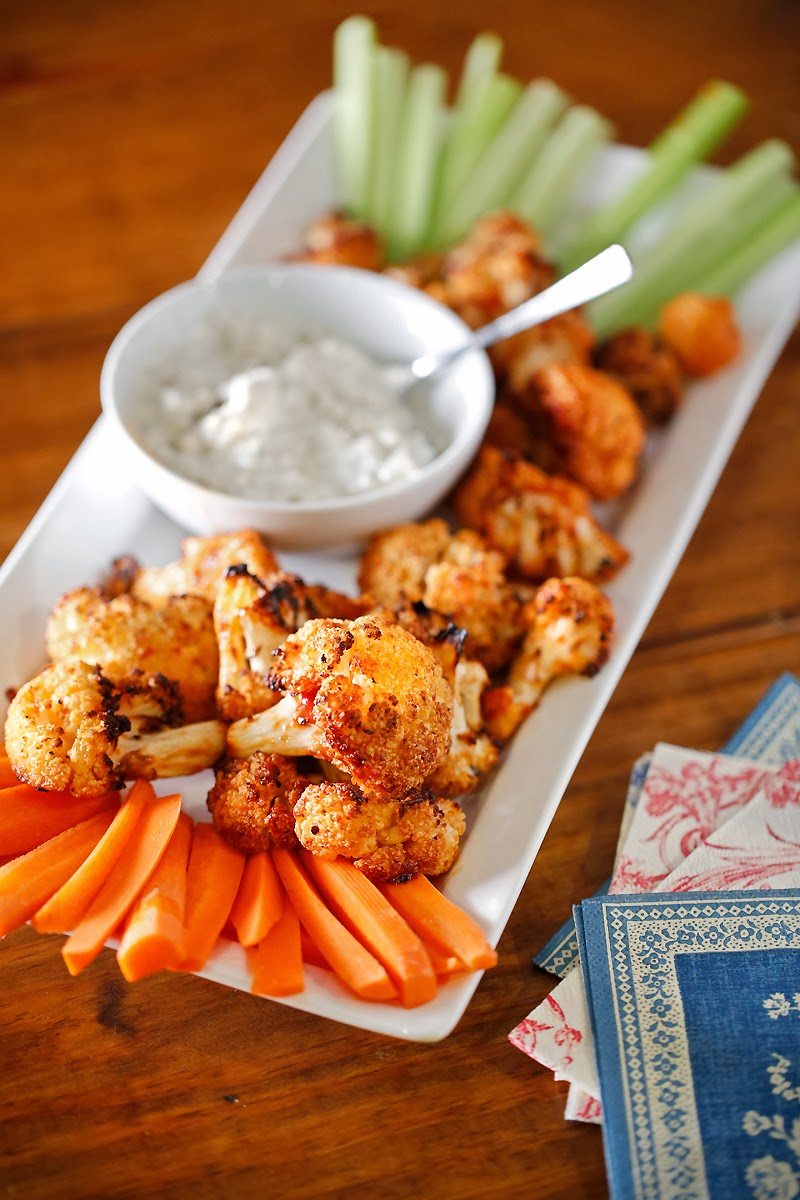 Baked Cauliflower Wings with Black and Bleu Dressing