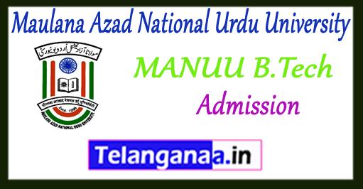 MANUU Maulana Azad National Urdu University B.Tech Admission 2018 Application