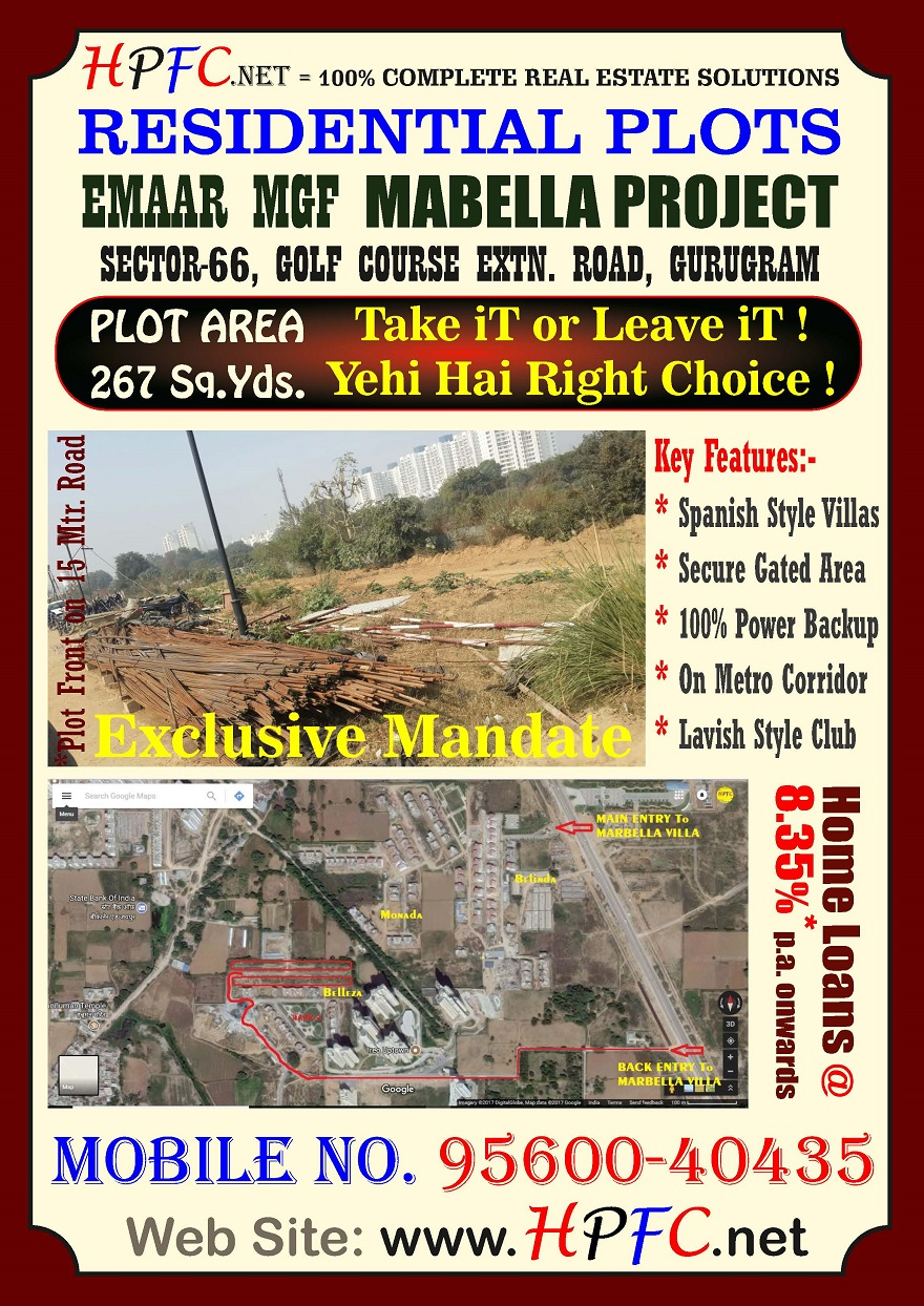 gurgaon residential plot at marbella villa project on golf course extension road, sector 66, gurugram
