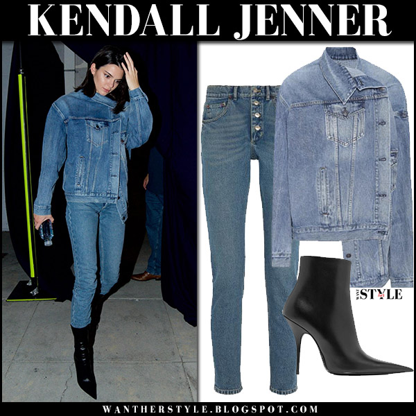 Kendall Jenner in denim jacket, jeans and ankle boots balenciaga august 30 2017