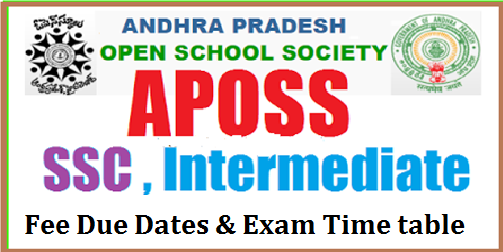 APOSS - A.P.OPEN SCHOOL SOCIETY SSC and Inter Fee due dates and Exam Time Tables Andhra Pradesh Open School Society has issued SSC and Intermediate Examination September 2017 Time Table recently. These examinations will be held from 20-09-2017 to 03.10.2017. APOSS SSC and Intermediate Examination Time Table provided here. A.P. Open School Society, Andhra Pradesh, Hyderabad, SSC and Intermediate (APOSS) Public Examinations, September 2017| aposs-ap-open-school-society-ssc-and-inter-admission-notification-2017-apply-online-fee-duedates-exam-timetable-hall-tickets-results-download-www.apopenschool.org/2017/06/aposs-apopen-school-society-ssc-and-inter-admission-notification-2017-apply-online-fee-duedates-exam-timetable-hall-tickets-results-download-www.apopenschool.org.html