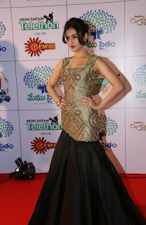 Sonal Chauhan in Golden Black Anarkali Dress Spicy Pics
