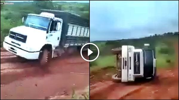 Caminhão escorrega TOMBA