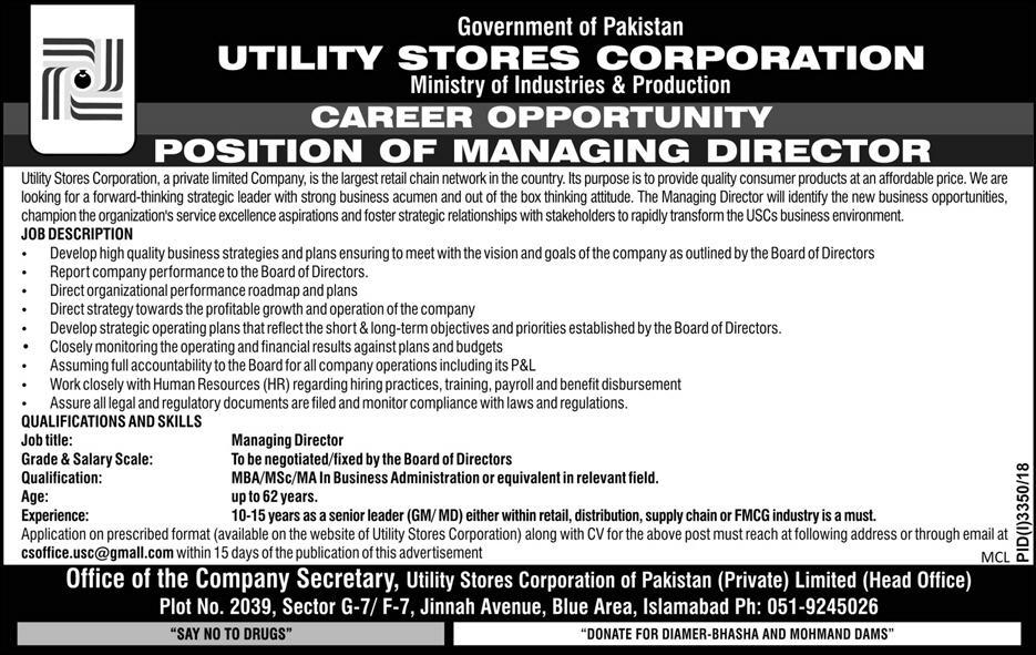 Jobs Vacancies In Utility Stores Corporation 24 January 2019