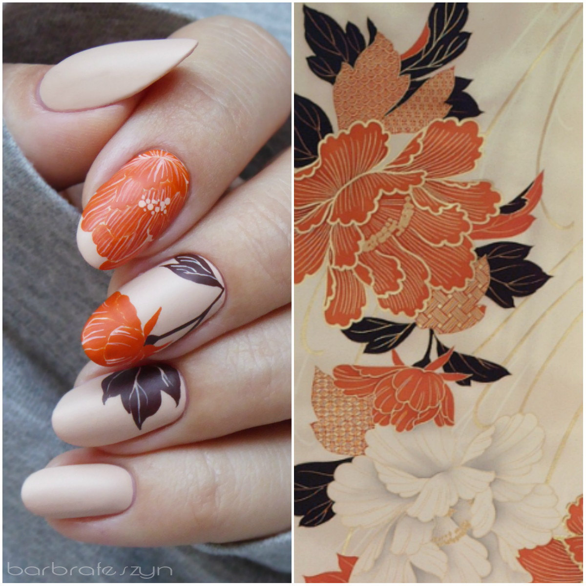 Freehand flowers inspired by japanese vase
