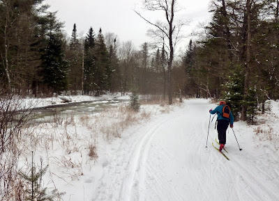 Beth skiing along West Stony Creek at Lapland Lake cross-country ski center on Sunday, Dec. 29, 2013.  The Saratoga Skier and Hiker, first-hand accounts of adventures in the Adirondacks and beyond, and Gore Mountain ski blog.