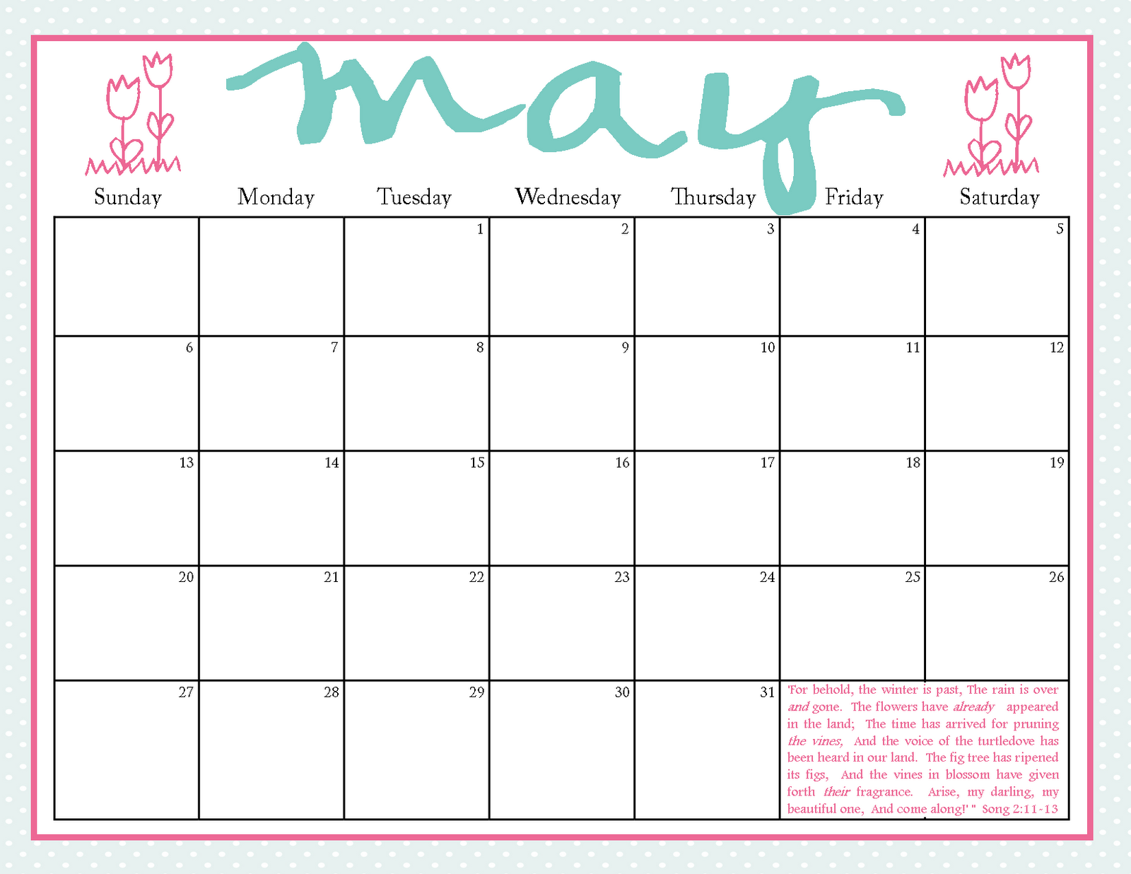 The Blogging Pastors Wife: Printable Calendars For May 2012
