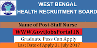 West Bengal Health Board Recruitment 2017– 6562 Staff Nurse