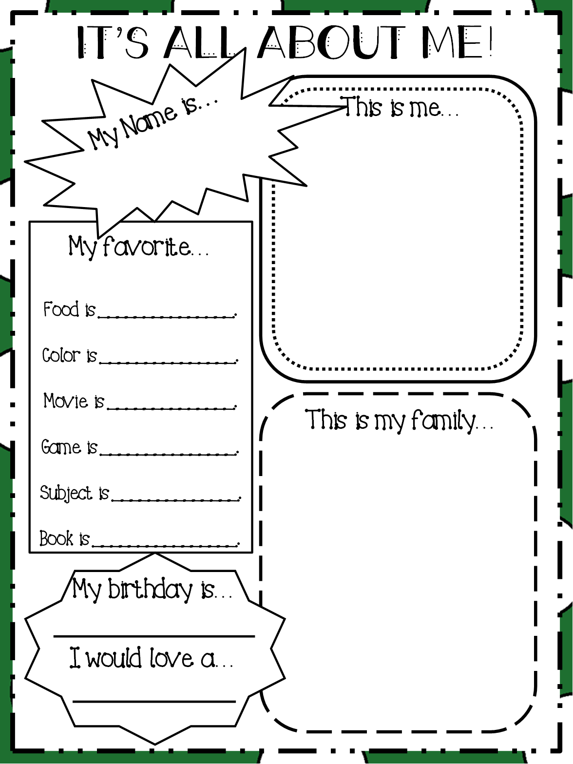 Teaching resource queen august 2014 for About me template for students