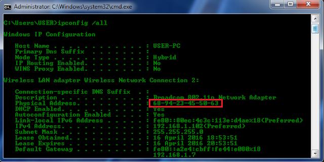 Cara Melihat MAC Address Pada Windows Dengan Mengunakan CMD