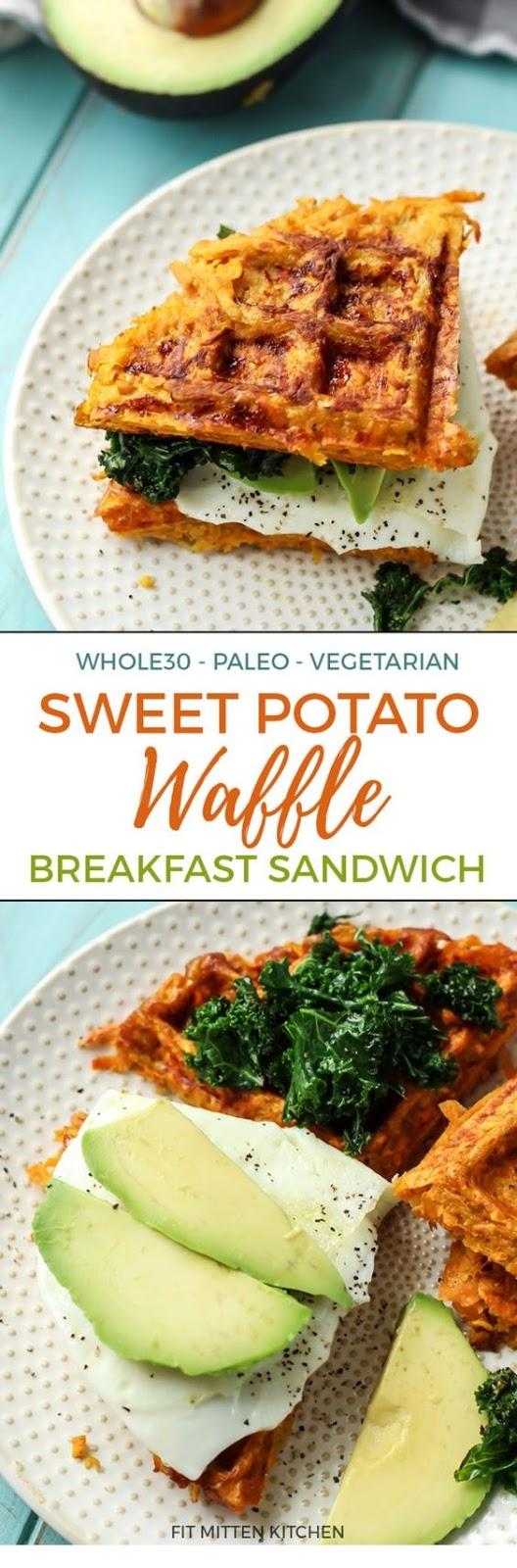 Paleo Sweet Potato Waffle Breakfast Sandwich
