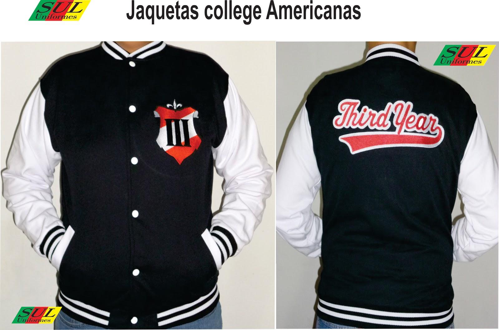 c5a721b048 Estamos fabricando as jaquetas colegiais Americanas. Confeccionamos em  variadas cores
