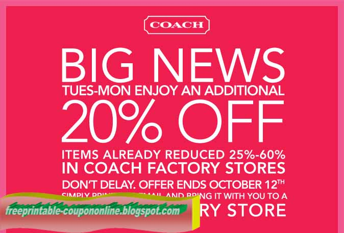 Coach discount coupons 2018