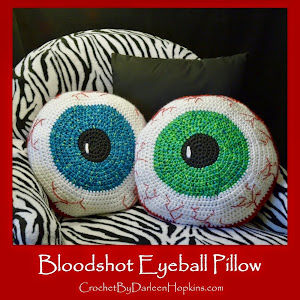 Bloodshot Eyeball Pillow, Crochet Pattern