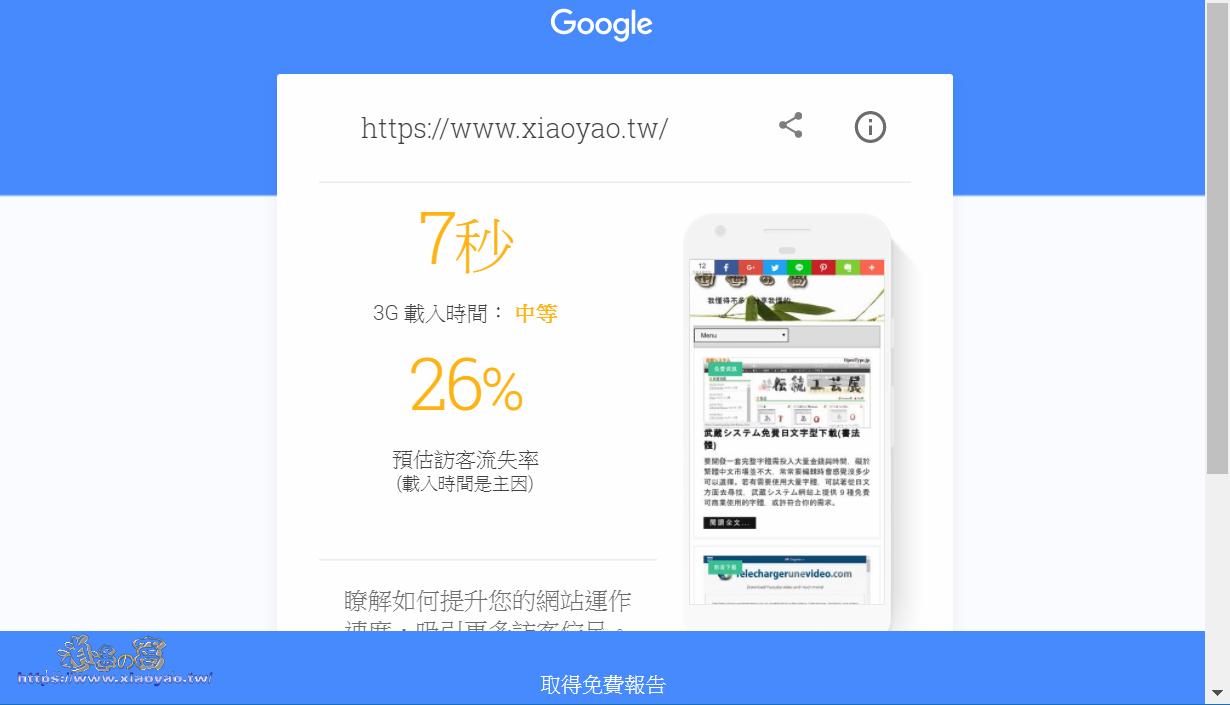 測試網頁在行動裝置的相容性、載入速度