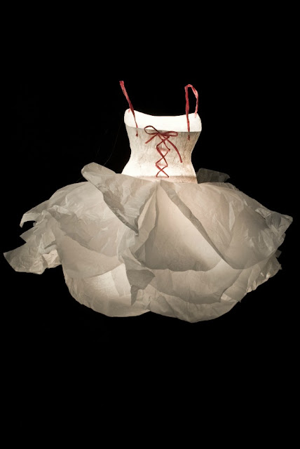 white and pink full skirt sculpted paper dress