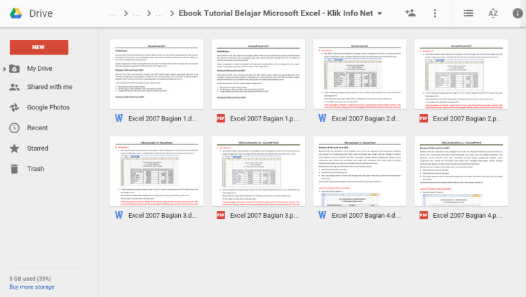 Download Gratis E-book Tutorial Belajar Microsoft Excel di Google Drive