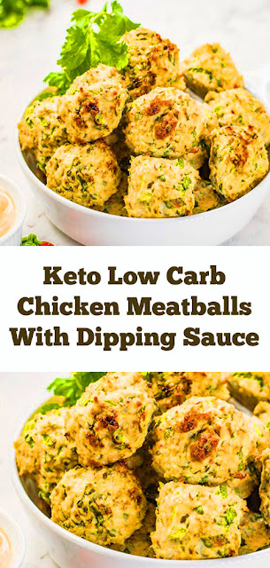 Keto Low Carb Chicken Meatballs With Dipping Sauce #keto #lowcarb #chicken #meatballs #chickenmeatballs #dip #sauce #easychickenrecipe #dinner #lunch #healthydinner #ketodinner #healthysnack