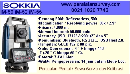 "Jual | Sokkia iM-52 2 "" detik Dual Display Reflectorless 500 meter"