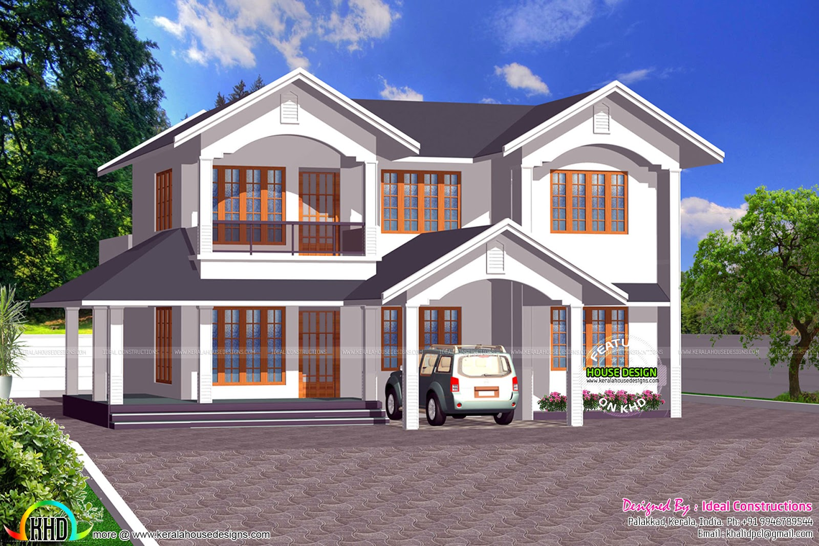 Typical 4 bedroom 2300 sq ft kerala home kerala home for Four bedroom kerala house plans