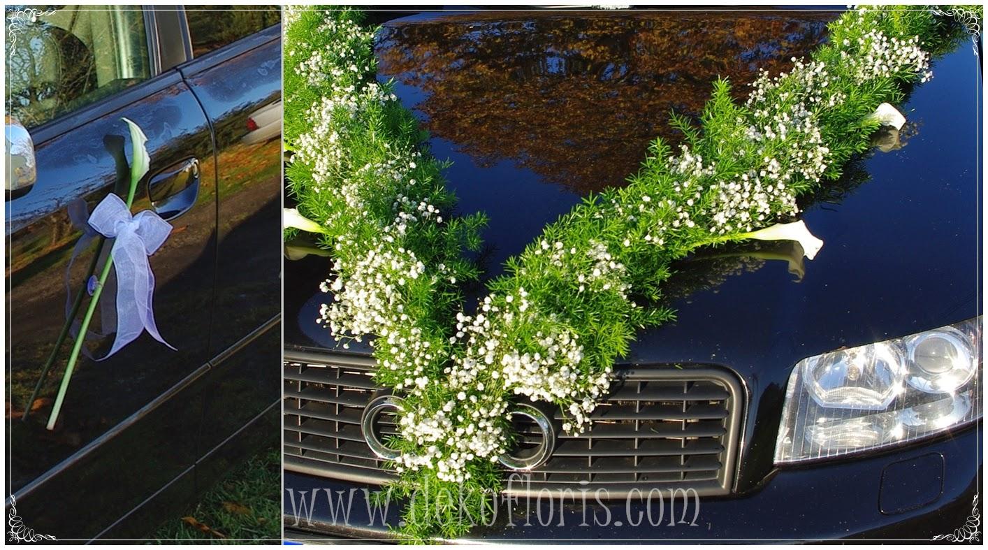 ślubna dekoracja samochodu opolskie Dobrzeń