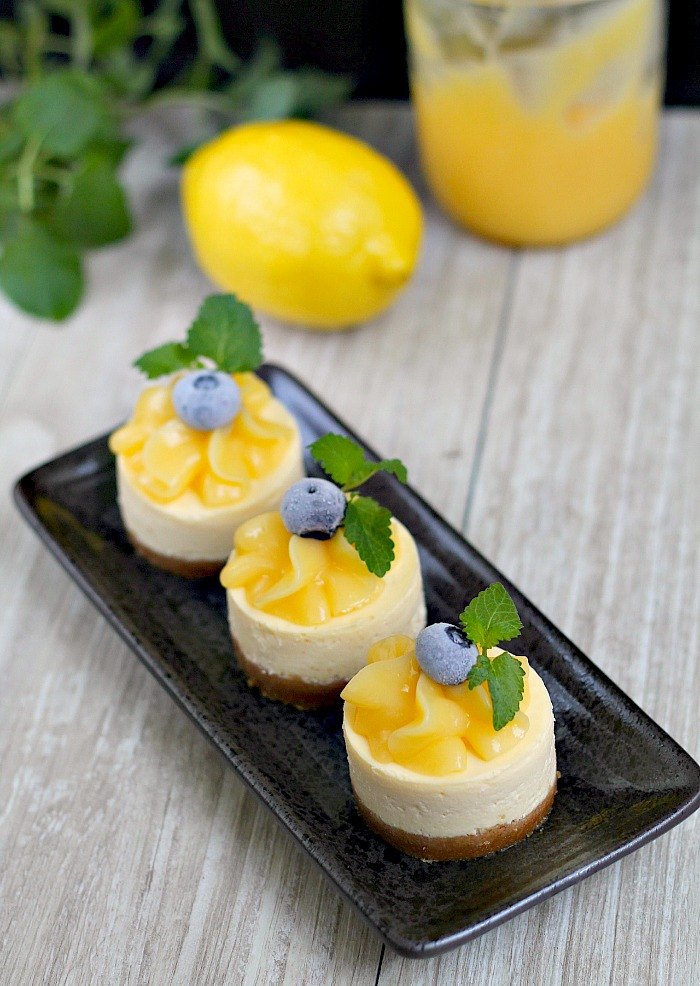 my bare cupboard Mini lemon cheesecakes with homemade lemon curd