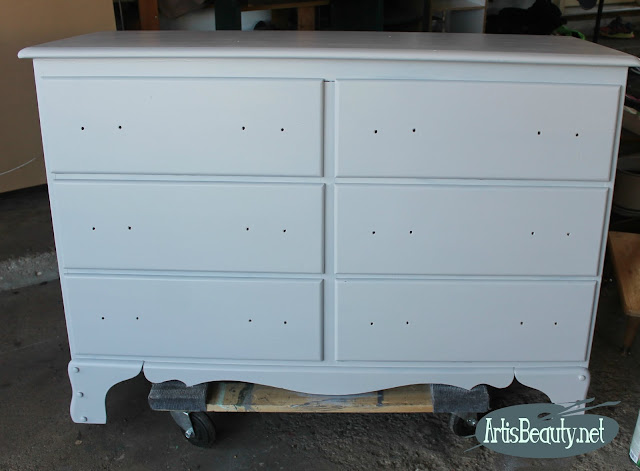 general finishes seagull gray water based milk paint dresser makeover before and after