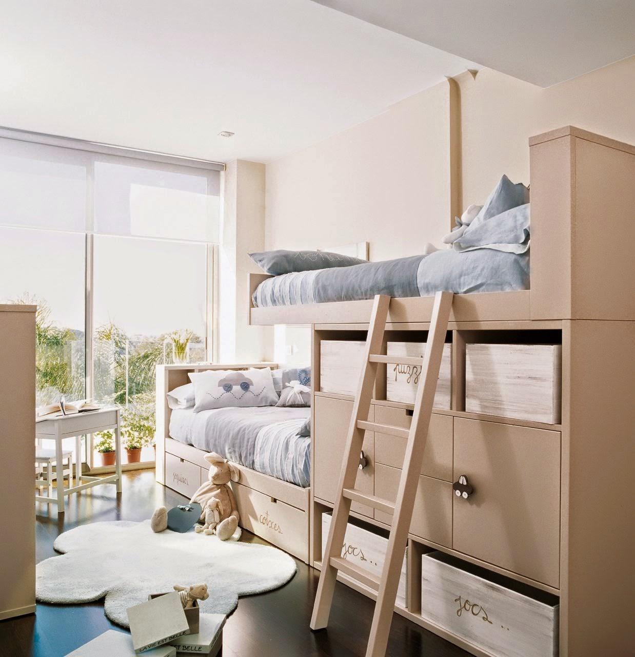 45 ideias sensacionais de beliches para quartos de - 3 camas en poco espacio ...