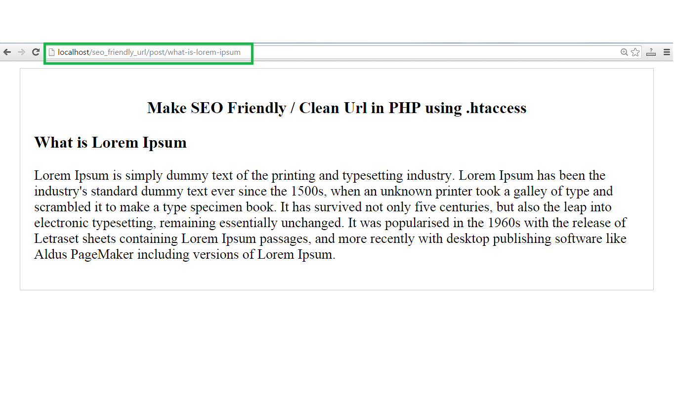 Make SEO Friendly / Clean Url in PHP using  htaccess