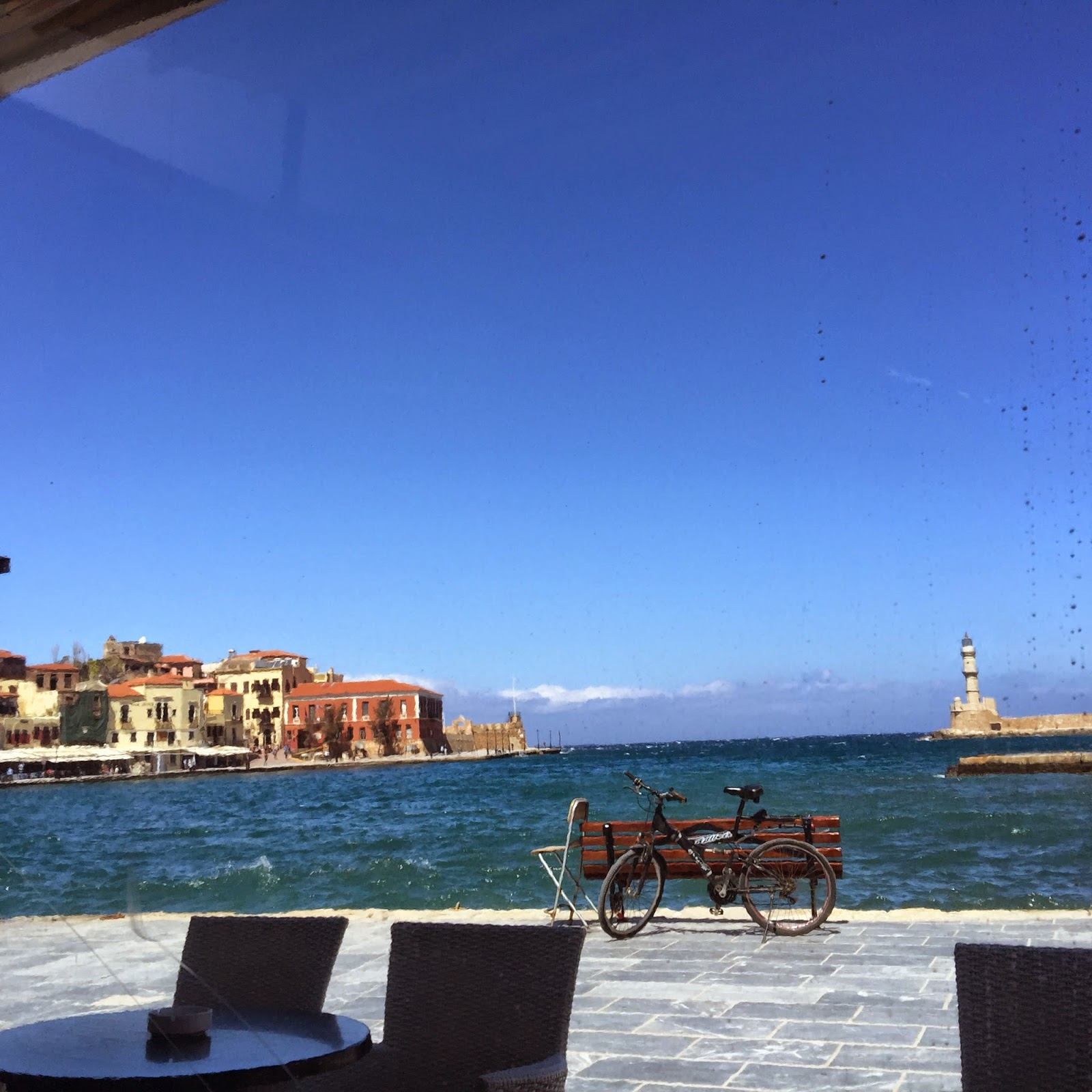 Waterfront dining in Chania on Greek island of Crete.