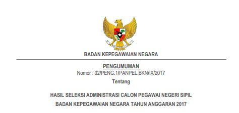 Pengumuman Hasil Seleksi Administrasi CPNS Badan Kepegawaian Negara TA 2017