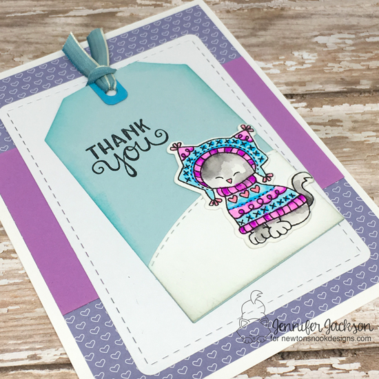 Cat in Sweater Thank You Card by Jennifer Jackson   Sweater Weather Stamp Set by Newton's Nook Designs #newtonsnook #handmade