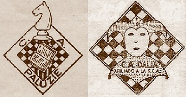 Escudos de los Clubs de Ajedrez Paluzíe y Dalia