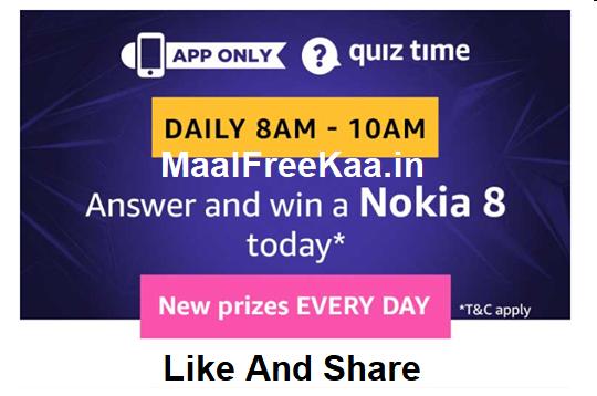 Amazon Quiz Time Answer Win a Nokia 8 - Freebie Giveaway