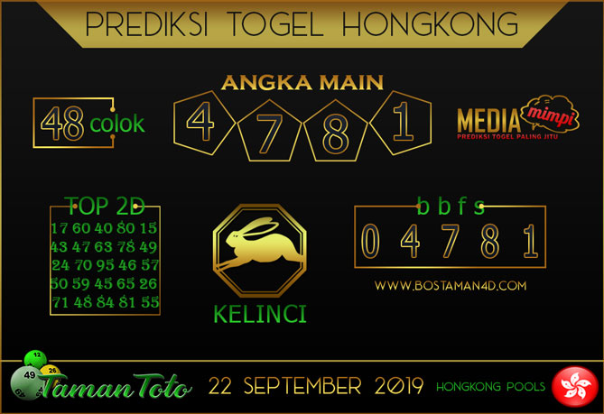 Prediksi Togel HONGKONG TAMAN TOTO 22 SEPTEMBER 2019