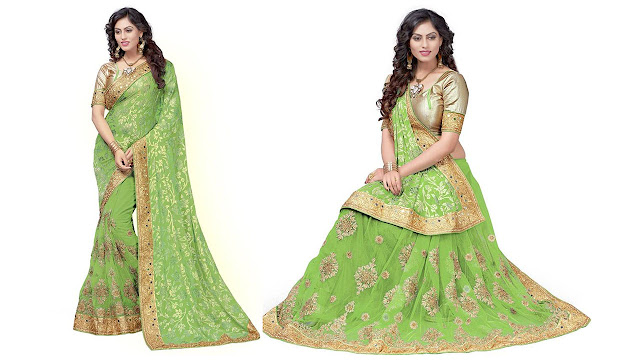Pragati Fashion Hub Embroidered Fashion Brasso, Net Saree  (Green)