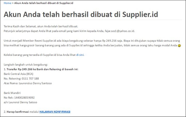 Cara Transfer pembayaran membership di supplier.id