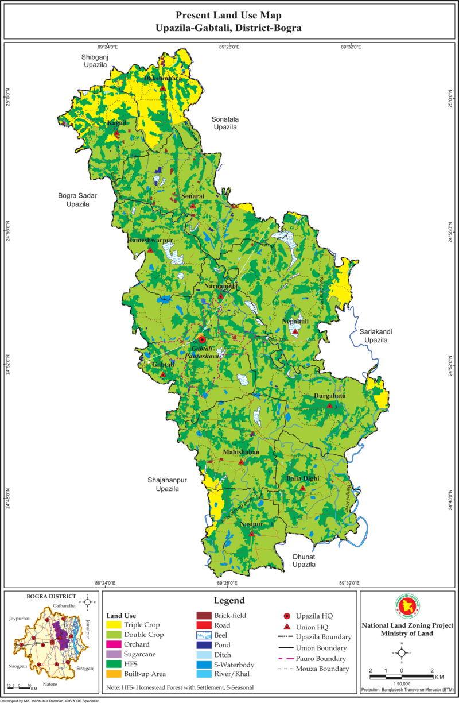 Gabtali Upazila Land Use Mouza Map Bogra District Bangladesh