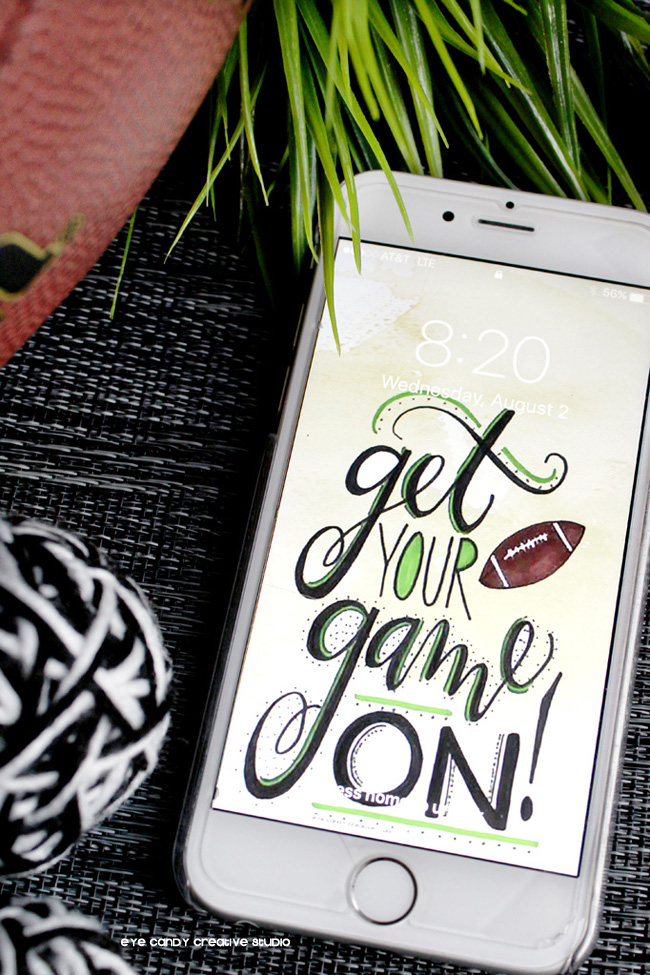 hand lettered, football art, football cell wallpaper, football fan, game on