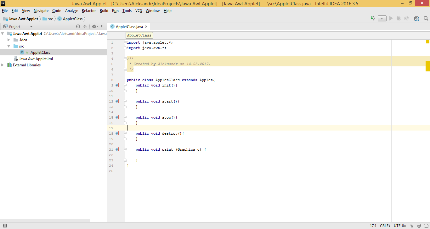HOW TO: CREATE AND RUN JAVA AWT APPLETS IN INTELLIJ IDEA
