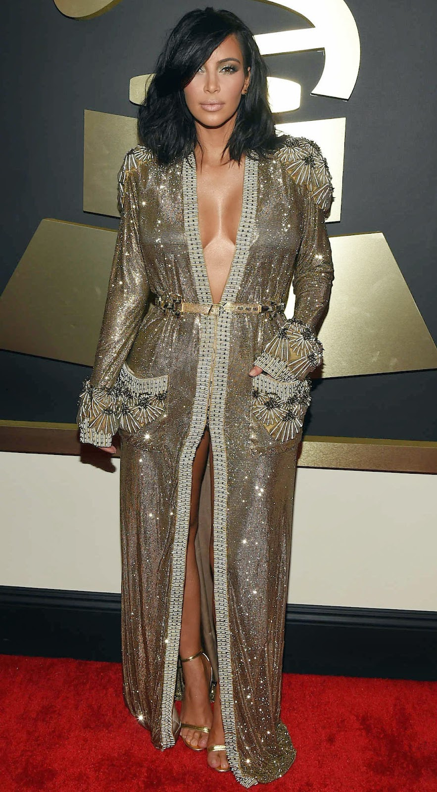Kim Kardashian  West 2015 Grammy Red Carpet Fashion