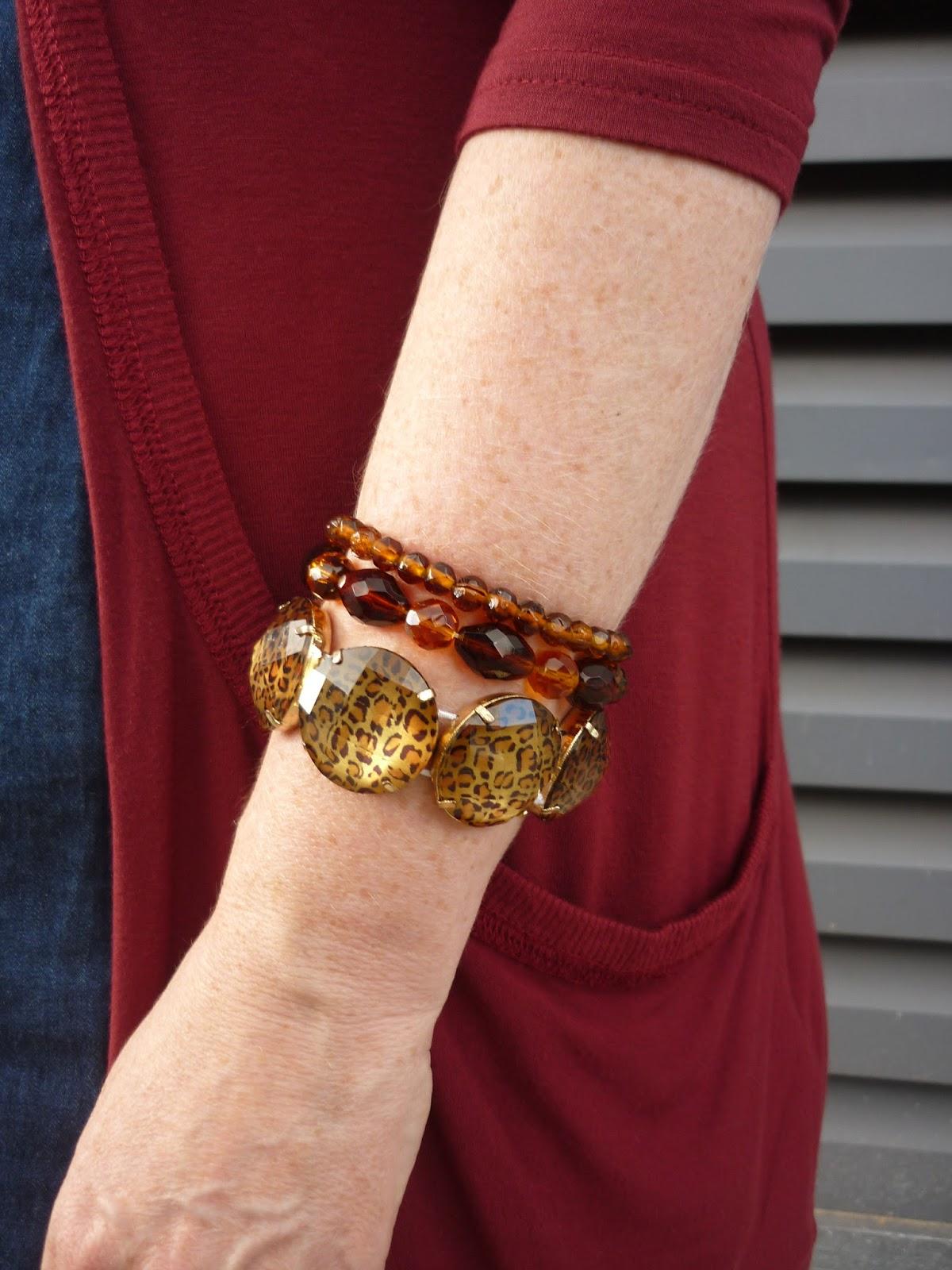 Leopard Print Bracelet & Amber Glass Bracelets | Petite Silver Vixen