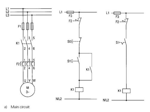 Typical circuit diagram of Direct On Line starter Images
