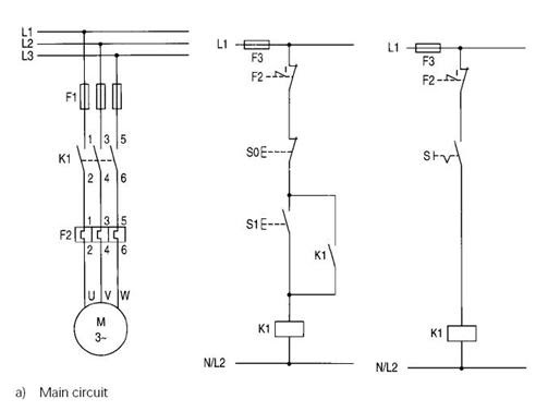 Typical circuit diagram of Direct On Line starter | PLC