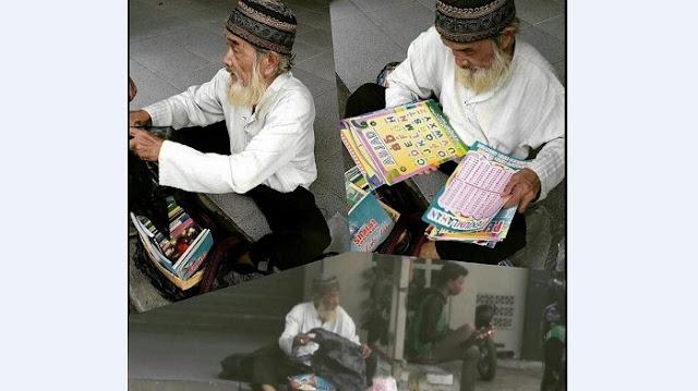 Berjualan Buku Iqro Hingga Tidur di Emperan, Kakek Husein (75th) Lakukan itu untuk Biayai Sendiri Hidupnya