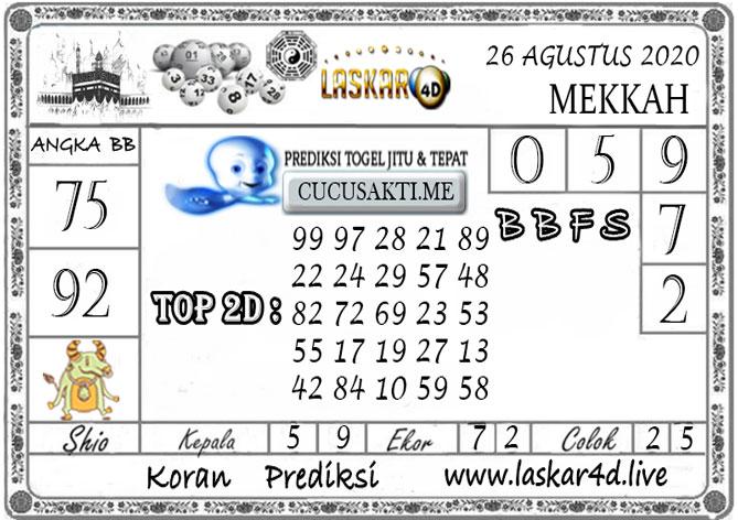 Prediksi Togel MEKKAH LASKAR4D 26 AGUSTUS 2020