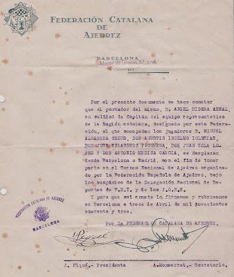 Ángel Ribera capitán del equipo catalán en el Torneo Nacional de Ajedrez 1943