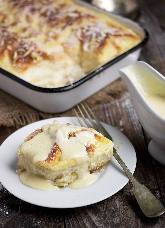 Classic comfort food bread pudding, meets stewed rhubarb. Perfect use for your frozen rhubarb, but you can also make this with fresh rhubarb. I love to serve this with a Creme Anglaise sauce (recipe…