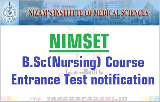 NIMSET,B.Sc(Nursing) Course,Entrance Test 2016 notification