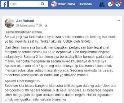 Uber dan Grab, Merger Bukan Berarti Bangkrut